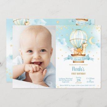 Hot Air Balloon Birthday Cute Jungle Animals Photo Invitation