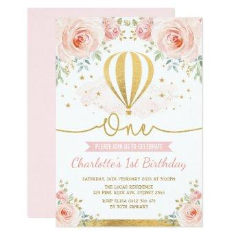 Hot Air Balloon Pink Gold Floral Girl 1st Birthday Invitation