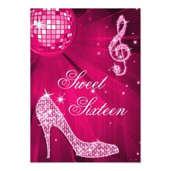 Hot Pink Disco Ball and Sparkle Heels Sweet 16 Invitation