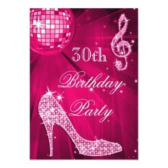 Hot Pink Disco Ball Sparkle Heels 30th Birthday Invitation