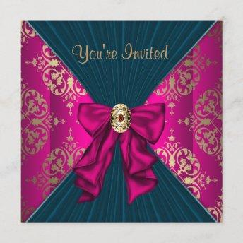 Hot Pink Gold Damask Black Tie Party Invitation