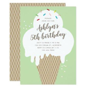 Ice cream cone kids green birthday party invite