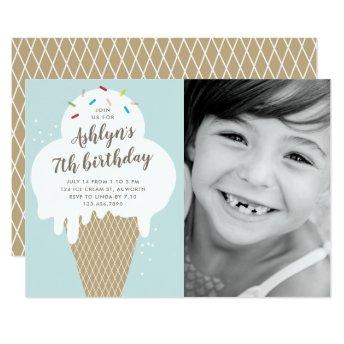 Ice cream cone kids photo birthday party invite