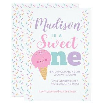 Ice Cream, Sweet One, 1st birthday Invitation