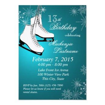 Ice Skates and Snowflakes Teal Birthday