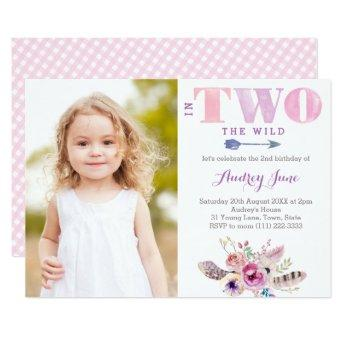 In TWO The Wild Bohemian 2nd Birthday Party Photo Invitation