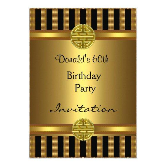 205 Invitation 60th Birthday Party Black Gold Mens