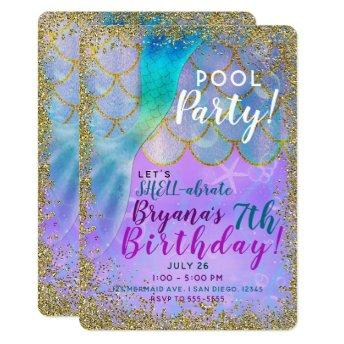 Iridescent Pearl Glitter Mermaid Birthday Party Invitation