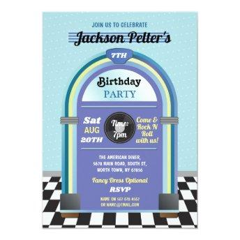Jukebox Birthday Music Blue Diner Fifties Retro Invitation