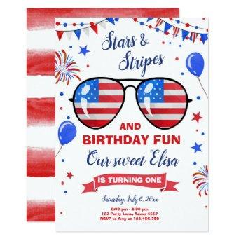 July 4th Stars and Stripes Firecracker Birthday Invitation