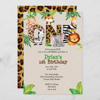 Jungle 1st Birthday Party Invitation