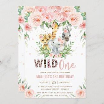 Jungle Animal Safari Blush Floral 1st Birthday Invitation