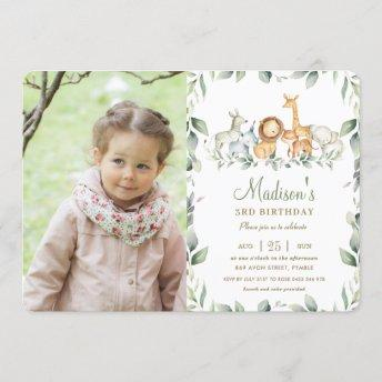 Jungle Animals Greenery Birthday Boy Girl Photo Invitation
