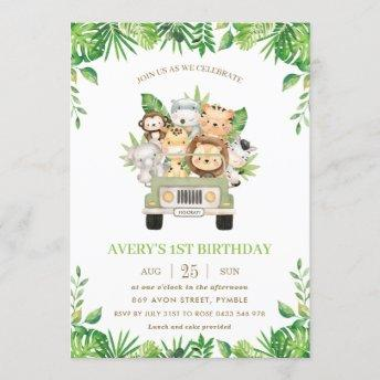 Jungle Animals Safari Car Greenery 1st Birthday Invitation
