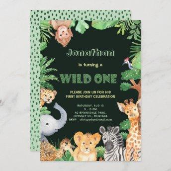 Jungle Animals Wild One First Birthday Invitation