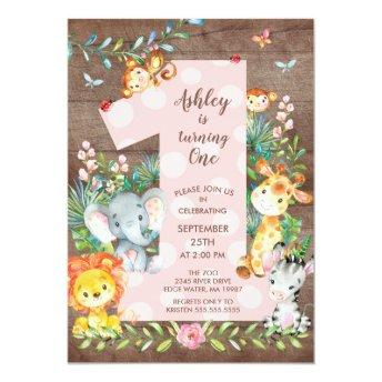 Jungle Big One Girls Birthday Invitation