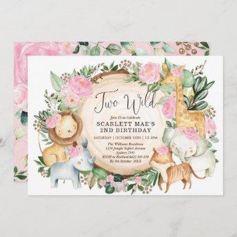 Jungle Floral Safari Wild Animals 2nd Birthday Invitation