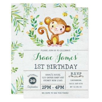 Jungle Monkey Birthday Party Invite Safari Invite