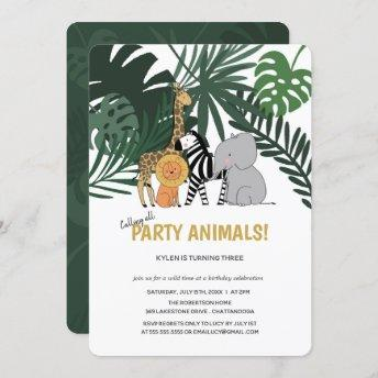 Jungle Party Animals Safari Kids Birthday Invitation