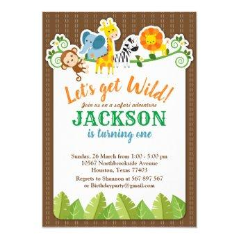 Jungle Zoo Animal Safari Adventure Birthday Invitation