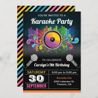 Karaoke Party | Colorful Music Birthday Invitation