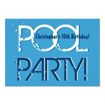 Kid's 10th Birthday Pool Party Blue White Template