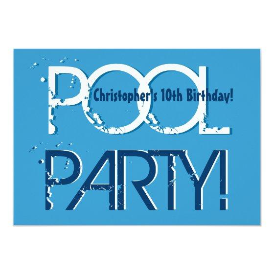 243 Kids 10th Birthday Pool Party Blue White Template Invitation