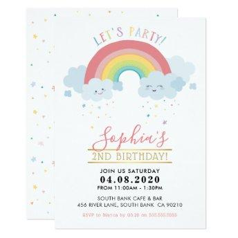 KIDS BIRTHDAY PARTY INVITE pastel rainbow clouds