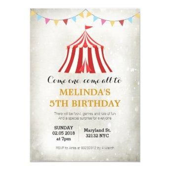 Kids circus carnival Birthday party Invitation