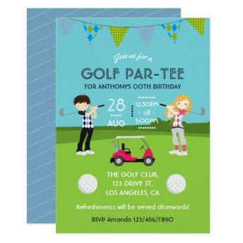 Kids Golf Theme Birthday Party Invitation