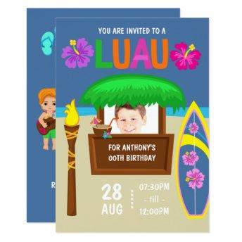 Kids Hawaiian Luau Party add photo Invitation