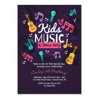 Kids Music and Dance Party Invitation