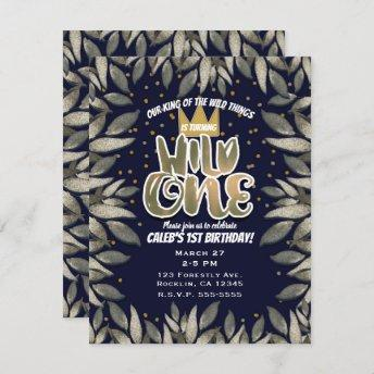 King of Wild Things ONE 1st Birthday Party Invitation