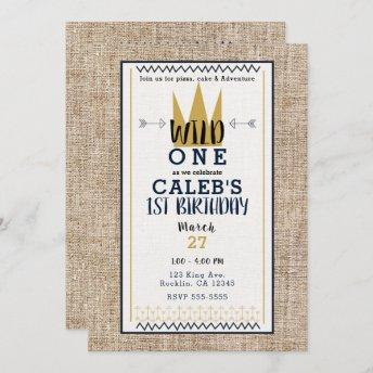 King Wild ONE Thing Gold Crown 1ST Birthday Party Invitation