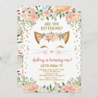 Kitty cat kitten peach cream girl birthday party invitation