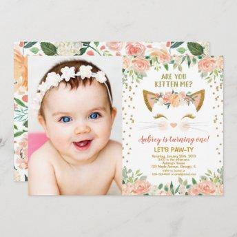 Kitty cat kitten peach cream girl birthday photo invitation