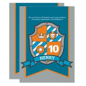 Knights medieval shield kids 10th birthday invites