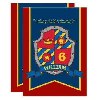 Knights medieval shield kids 6th birthday invites