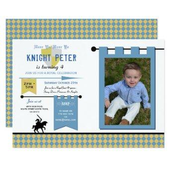 Knights Photo Medieval Birthday Party Blue Invitation