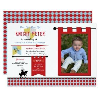 Knights Photo Medieval Birthday Party Blue Red Invitation