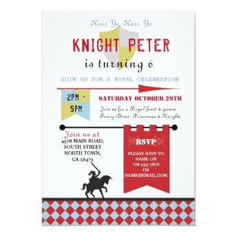 Knights Princess Medieval Birthday Party Invite