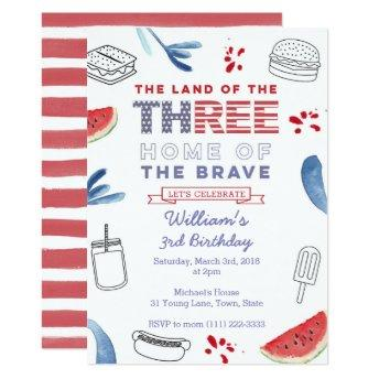 Land of the Free Stars and Stripes 3rd Birthday Invitation