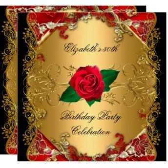 LARGE 50th Birthday Party Gold Black Red Roses Invitation