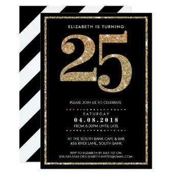LARGE AGE NUMBER INVITE modern 25 gold glitter