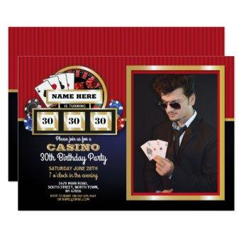 Las Vegas Casino Night Birthday Party Photo Invitation