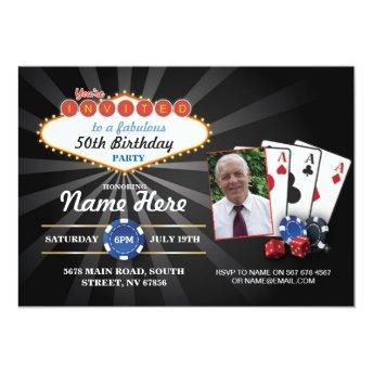 Las Vegas Casino Photo Birthday Invite Party