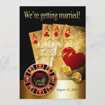 Las Vegas Deluxe Wedding | red gold black Invitation