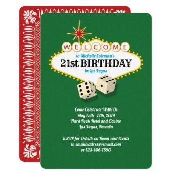 Las Vegas Marquee Birthday Party Green Invitation
