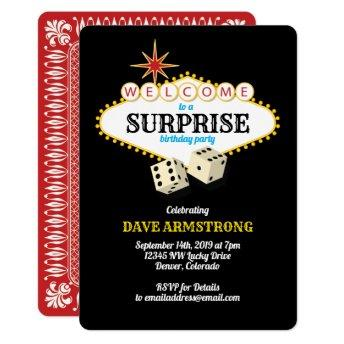 Las Vegas Marquee Surprise Birthday Party Invitation