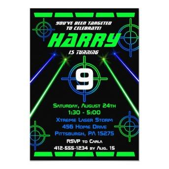 Laser Tag Neon Green and Blue Beams Birthday Party Invitation